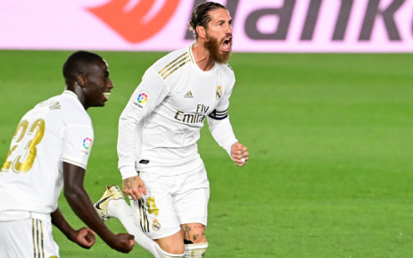 Real Madrid defender Sergio Ramos celebrates after scoring during the Spanish league football match real Real Madrid CF against RCD Mallorca at at the Alfredo di Stefano stadium in Valdebebas, on the outskirts of Madrid, on 24 June. Picture: AFP