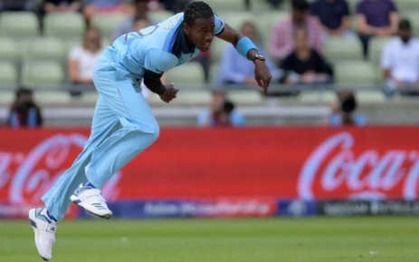 England's Jofra Archer bowls during the Cricket World Cup semi-final against Australia on 11 July 2019. Picture: Twitter/@cricketworldcup