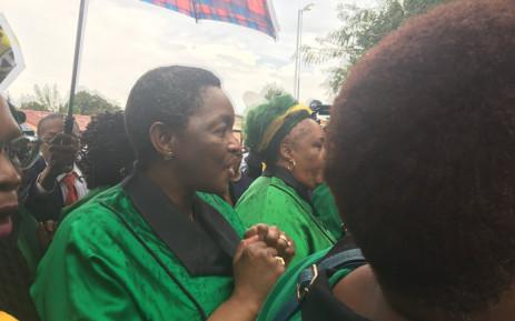 ANC Women's League president Bathabile Dlamini outside the home of the late struggle stalwart Winnie Madikizela-Mandela on Tuesday 3 April 2018. Picture: Gia Nicolaides/EWN