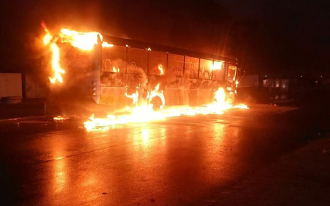 FILE: A Golden Arrow Bus was torched during protests in Philippi on 12 June 2019. Picture:  1Second CPT-Daily Security Alerts Facebook page.