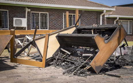 file: The remains of a piano sit atop a pile of charred furniture outside students' residences at the University of the Western Cape's Bellville campus after protests on Wednesday. Picture: Aletta Harrison/EWN.