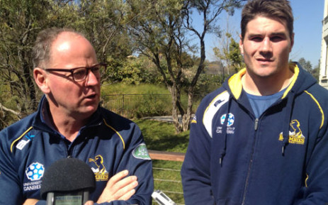 Brumbies coach Jake White and captain Ben Mowen during a press conference in Johannesburg ahead of their Super Rugby semi-final clash against the Bulls on 27 July 2013. Picture: Jean Smyth/EWN