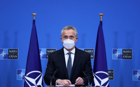 Secretary-General of NATO, Jens Stoltenberg, delivers a speech during a joint press conference with US Defence Secretary and US Secretary of State on 14 April 2021 at NATO's headquarters in Brussels. Picture: AFP
