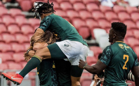 The Blitzboks celebrate their come-from-behind victory over Fiji in the final of the Singapore Sevens tournament on 14 April 2019. Picture: @Blitzboks/Twitter