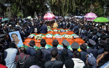 Coffins of victims of the crashed accident of Ethiopian Airlines are gathered during the mass funeral at Holy Trinity Cathedral in Addis Ababa, Ethiopia, on 17 March 2019. The crash of Flight ET 302 minutes into its flight to Nairobi on 10 March killed 157 people onboard and caused the worldwide grounding of the Boeing 737 MAX 8 aircraft model involved in the disaster. Picture: AFP