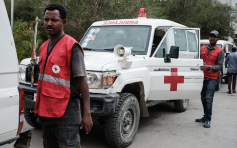 FILE: Red Cross ambulances are seen waiting on stand-by for authorisation to travel to Togoga, a village about 20km west of Mekele, where an alleged airstrike hit a market leaving an unknown number of casualties. Red Cross ambulances are standing by after being denied access to the site, at the Ayder referral hospital in Mekele, the capital of Tigray region, Ethiopia, on 23 June 2021. Picture: Yasuyoshi Chiba/AFP