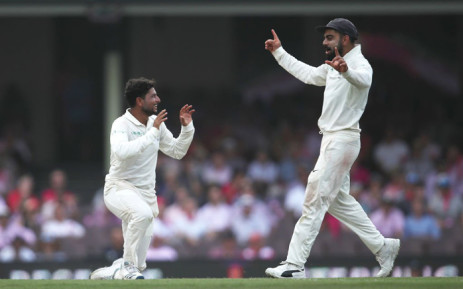 Kuldeep Yadav made Travis Head his second victim of the day shortly before the break during the fourth Test between Australia and India. Picture: @BCCI/Twitter.