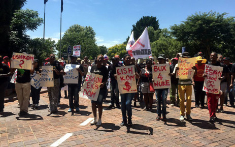 A small group of people, from the Right2Know Campaign, were picketing outside Gallagher Estate on 4 February 2015 against Eskom's proposed tariff hike. Picture: Gia Nicolaides/EWN.