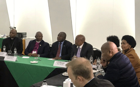 President Cyril Ramaphosa in a meeting with a delegation from the World Council of Churches to discuss gender-based violence and xenophobic attacks in the country. Picture: Thando Kubheka/EWN.
