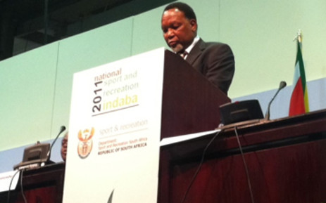 Deputy President Kgalema Motlanthe speaking at the opening of the Sports Indaba. Picture: Tshepo Lesole/EWN