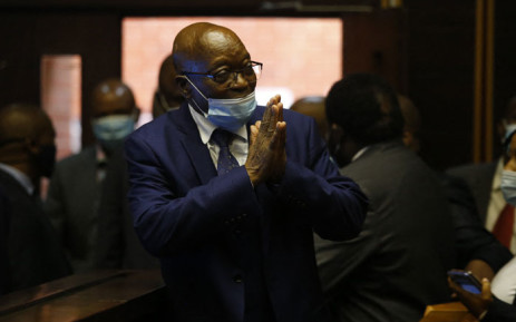 FILE: Former South African president Jacob Zuma who is facing fraud and corruption charges greets supporters in the gallery of the High Court in Pietermaritzburg, South Africa, on 17 May 2021. Picture: Rogan Ward/AFP