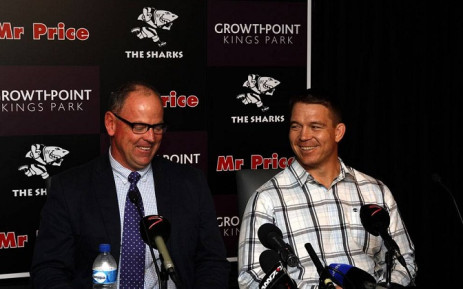 Sharks coach Jake White and CEO John Smit. Picture: Sharks Rugby Facebook Page