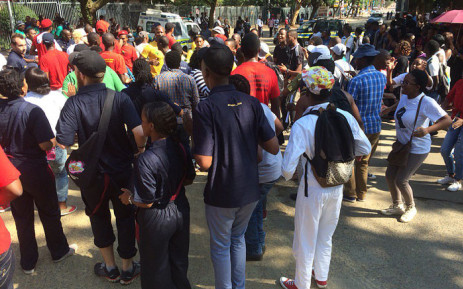 FILE: Students gathered outside of the University of Pretoria in February to protest against the language policy. Picture: Barry Bateman/EWN.