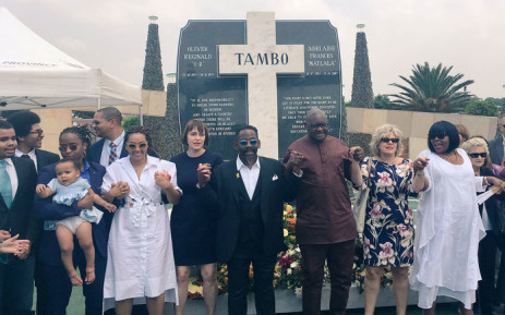 Gauteng Premier David Makhura and members of the Tambo family attend a wreath-laying ceremony at the grave of former ANC leader OR Tambo on 27 October 2017. Picture: @GautengANC/Twitter
