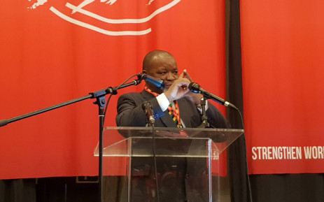 Mineral Resources Minister Gwede Mantashe addresses Nehawu's policy conference held in Boksburg on 27 June 2019. Picture: @MYANC/Twitter