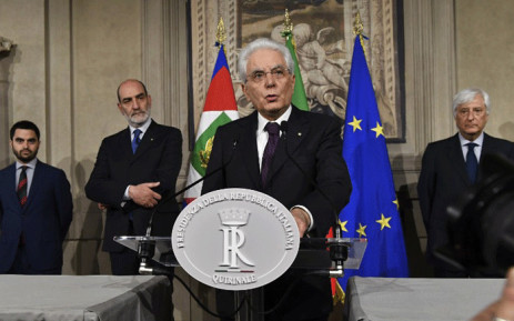Italy's President Sergio Mattarella addresses journalists after a meeting with Italy's prime ministerial candidate Giuseppe Conte on 27 May 2018 at the Quirinale presidential palace in Rome. Picture: AFP.