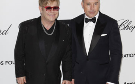 Elton John and his partner. Picture: AFP