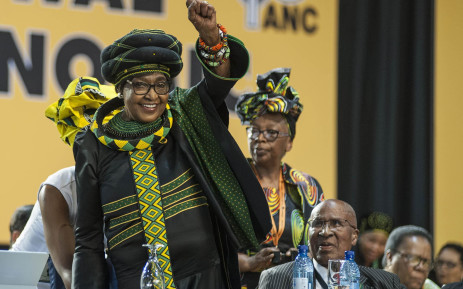 Winnie Madikizela-Mandela saluting the crowd at the start of the ANC's 54th national conference on 16 December 2017. Picture: Ihsaan Haffejee/EWN