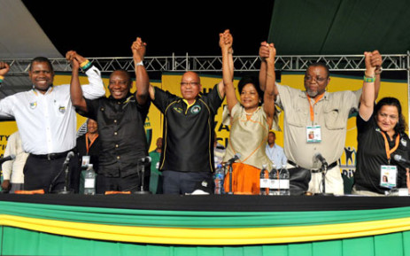 The ANC's Top Six: Zweli Mkhize, Cyril Ramaphosa, Jacob Zuma, Baleka Mbete, Gwede Mantashe and Jessie Duarte after their election into the 6 top positions in the ANC at the 53rd National Conference held at the University of Free State in Mangaung. Picture: ANC.