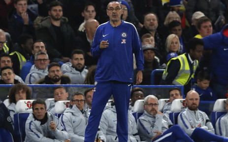 Chelsea's Italian head coach Maurizio Sarri watches his players from the touchline during the English League Cup football match between Chelsea and Derby County at Stamford Bridge in London on 31 October, 2018. Picture: AFP.