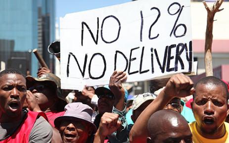 FILE PICTURE: Striking truck drivers march in the Johannesburg CBD. Picture: Taurai Maduna
