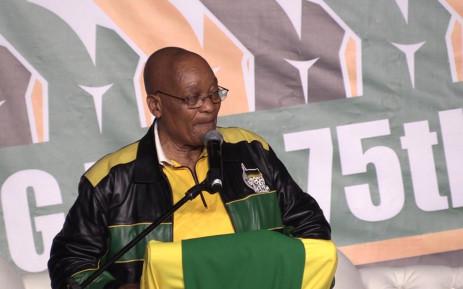 President Jacob Zuma speaking at his 75th birthday celebration in Kliptown, Soweto. Picture: Kgothatso Mogale/EWN