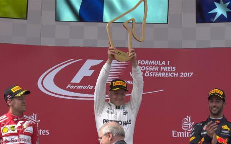 Valtteri Bottas has won the Austrian Grand Prix for Mercedes. Picture: Twitter/@F1.