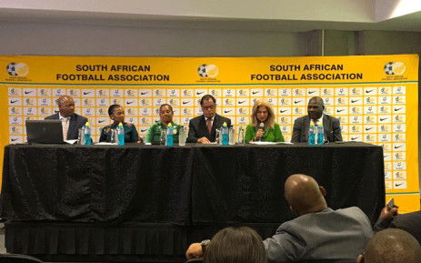 Safa President Danny Jordaan and other officials at a press briefing on 27 March 2019. Picture: @MMStadium/Twitter.