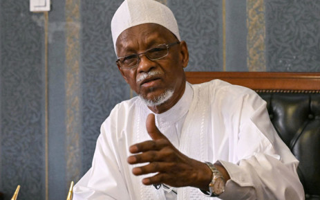 Former Chad president Goukouni Oueddei, gesture during an interview with the Agence France Presse (AFP) in N'djamena on 2 May 2021. Picture: Issouf Sanogo/AFP