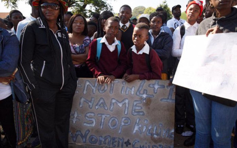 Hundreds of community members marched to the Mamelodi Police Station to protest against the police's poor response after 10-year-old Katlego Joja went missing. She was later found dead in a river near her home. Picture: Ihsaan Haffejee/EWN