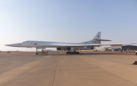 On of the two Russian Tupolev Tu-160 strategic bombers at the Waterkloof Air Force Base on 23 October 2019. Picture: @SANDFCorpEvents/Twitter