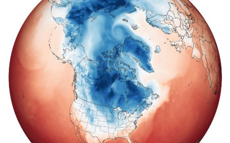 Ascold weather is now gripping the Midwest and Northern Plains of the United States, as well as interior Canada, Nasa says the culprit is the polar vortex. Picture: earthobservatory.nasa.gov