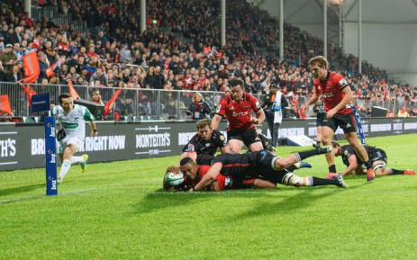 Crusaders wing, Sevu Reece, scores in a 36-10 win over the Lions in Christchurch. Picture: @crusadersrugby/Twitter