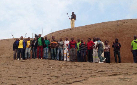 Miners singing and dancing at the koppie for the two year anniversary of the Marikana massacre. Picture: Gia Nicolaides/EWN.