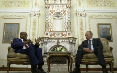 President Jacob Zuma and Russian President Vladimir Putin. Picture: AFP.