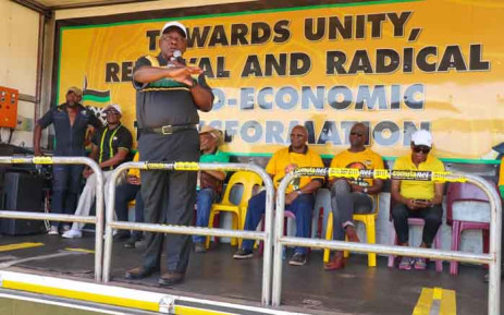President Cyril Ramaphosa addresses Ikageng residents on 16 March 2019 during the ANC's elections campaign in the North West. Picture: @MYANC /Twitter