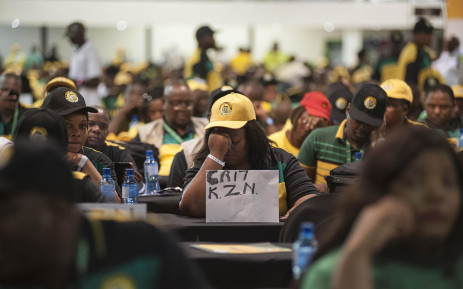 A delegate from KwaZulu-Natal displaying a sign showing support for Cyril Ramaphosa at the start of the ANC's national conference on 16 December 2017. Picture: Ihsaan Haffejee/EWN