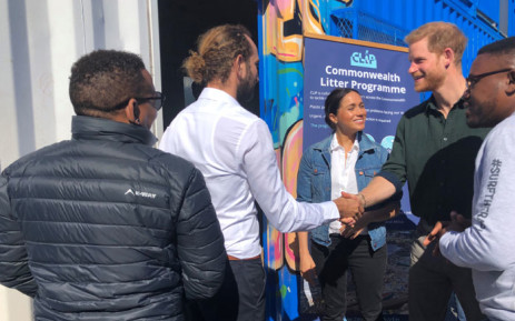 The Duke and Duchess of Sussex meeting with the Waves of Change team. Picture: Jason Felix/EWN.