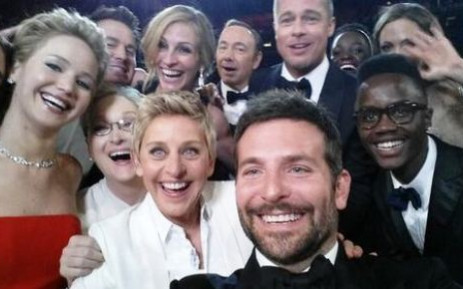 A photo of host Ellen DeGeneres and other stars quickly became the most shared photo ever on Twitter. Picture: Twitter