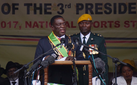 Newly sworn-in President Emmerson Mnangagwa speaks during the Inauguration ceremony at the National Sport Stadium in Harare on 24 November 2017. Picture: AFP.