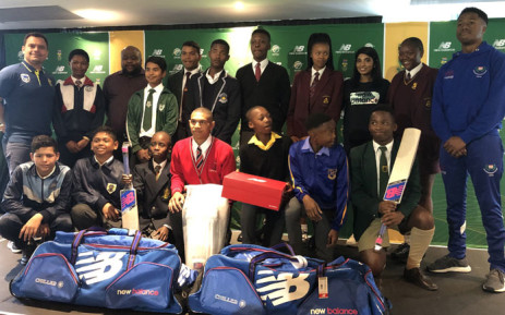 A group of junior cricketers receive kit from New Balance and Cricket South Africa at the Newlands Cricket Stadium on 8 October 2019. Picture: Rob Delport/SABC