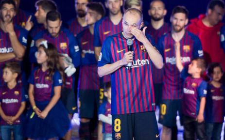 Former Barcelona midfielder Andres Iniesta bids fans and teammates goodbye following his final game for the side. Picture: @FCBarcelona/Twitter