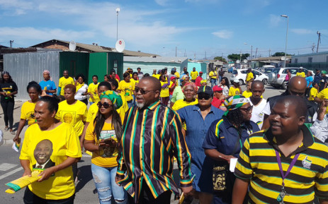 ANC national chairperson Gwede Mantashe on a door-to-door elections campaign in Gugulethu, Cape Town, on 21 March 2019 to drum up support for the governing party ahead of general elections on 8 May. Picture: @GwedeMantashe1/Twitter