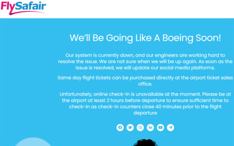 Because the online check-in service is unavailable, FlySafair is asking passengers be at the airport at least two hours before departure. Picture:  flysafair.co.za/maintenance