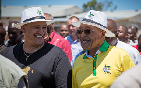 ANC president Jacob Zuma is accompanied by the party's Western Cape Secretary Marius Fransman on a walkabout through Philippi in Cape Town on 6 January 2015. Picture: Aletta Gardner/EWN