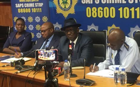 Police Minister Bheki Cele addresses a media briefing on festive season crime stats on 21 January 2020 in Durban. Picture: Nkosikhona Duma/EWN