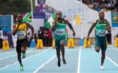 FILE: SA sprinters Akani Simbine and Simon Magakwe in action in at the CAA African Senior Championships in Asaba, Nigeria on 2 August 2018. Picture: @iaaforg/Twitter