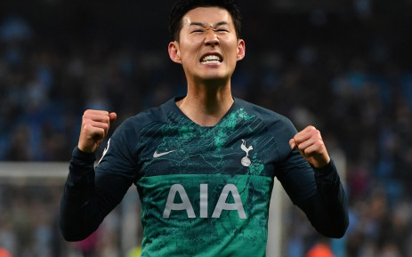 Tottenham Hotspur's Son Heung-Min celebrates at the final whistle during the UEFA Champions League quarter final second leg match between Manchester City and Tottenham Hotspur at the Etihad Stadium. Credit: AFP