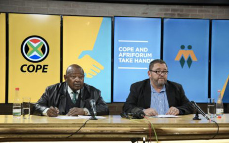 Cope leader Mosiuoa Lekota (right) and AfriForum's Kallie Kriel at a press conference in Pretoria. Picture: Afriforum.co.za