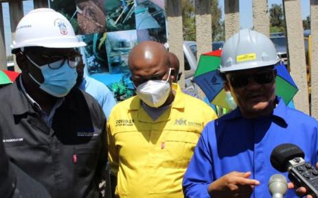 Water and Sanitation Minister Senzo Mchunu (left), Gauteng Premier David Makhura and deputy ministers David Mahlobo and Dikeledi Magadzi during their visit to the Emfuleni local municipality on 12 October 2021. Picture: @DWS_RSA/Twitter